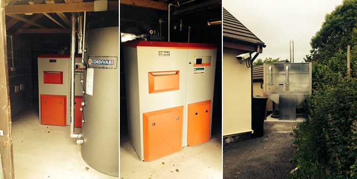 Biomass boiler installation at a bungalow in Llanelli South Wales