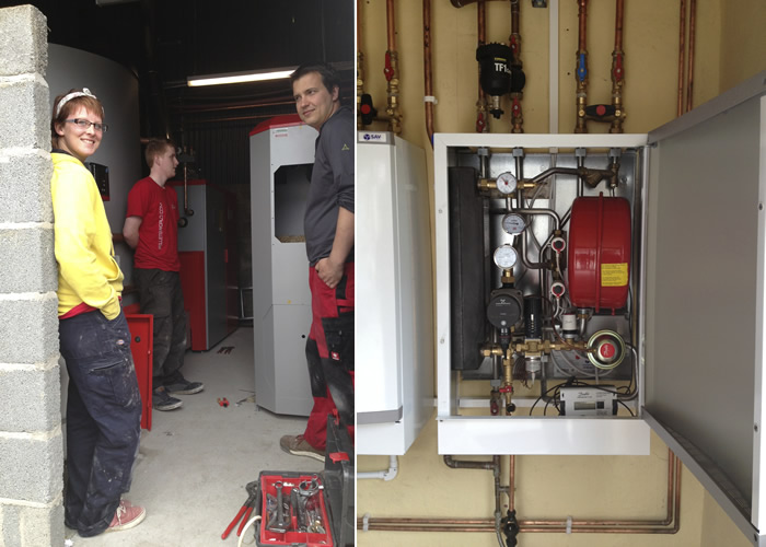 Biomass plant room and installation at Meidrim farm